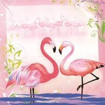 Serviette Pair of Flamingos