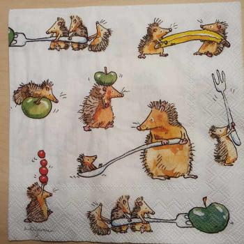 Serviette Funny Hedgehogs