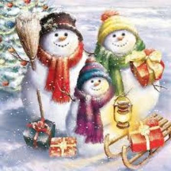 Serviette Snowmen Family