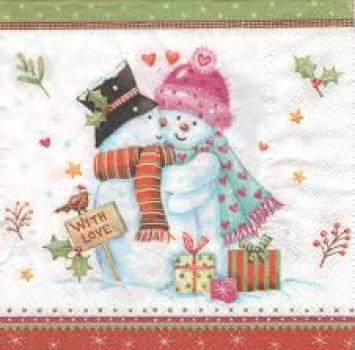 Serviette Snowman with love