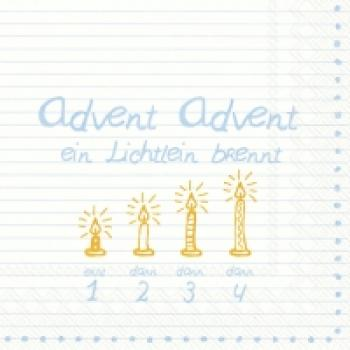 Serviette Advent Advent blau