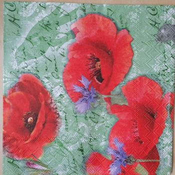 Serviette Painted Poppies Green