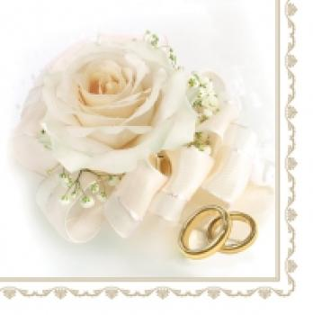 Serviette Wedding rings & white rose