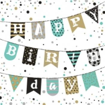 Serviette Birthday Garland green