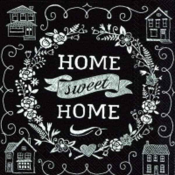 Serviette Home sweet Home black