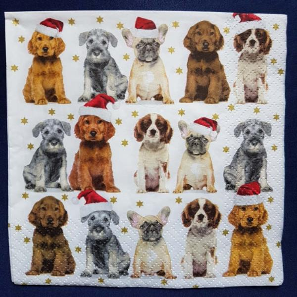 Serviette Christmas Dogs