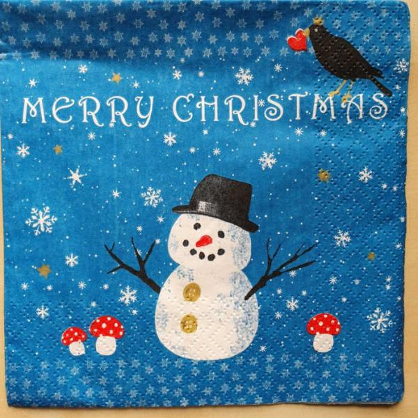 Serviette Merry Christmas Snowman